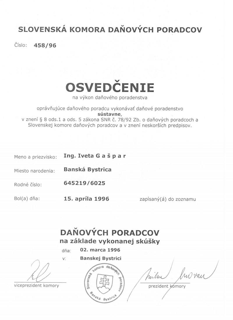 Osvedčenie DP 001